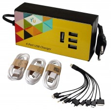 15 Watt 4-Port USB Charger with Charging Cables