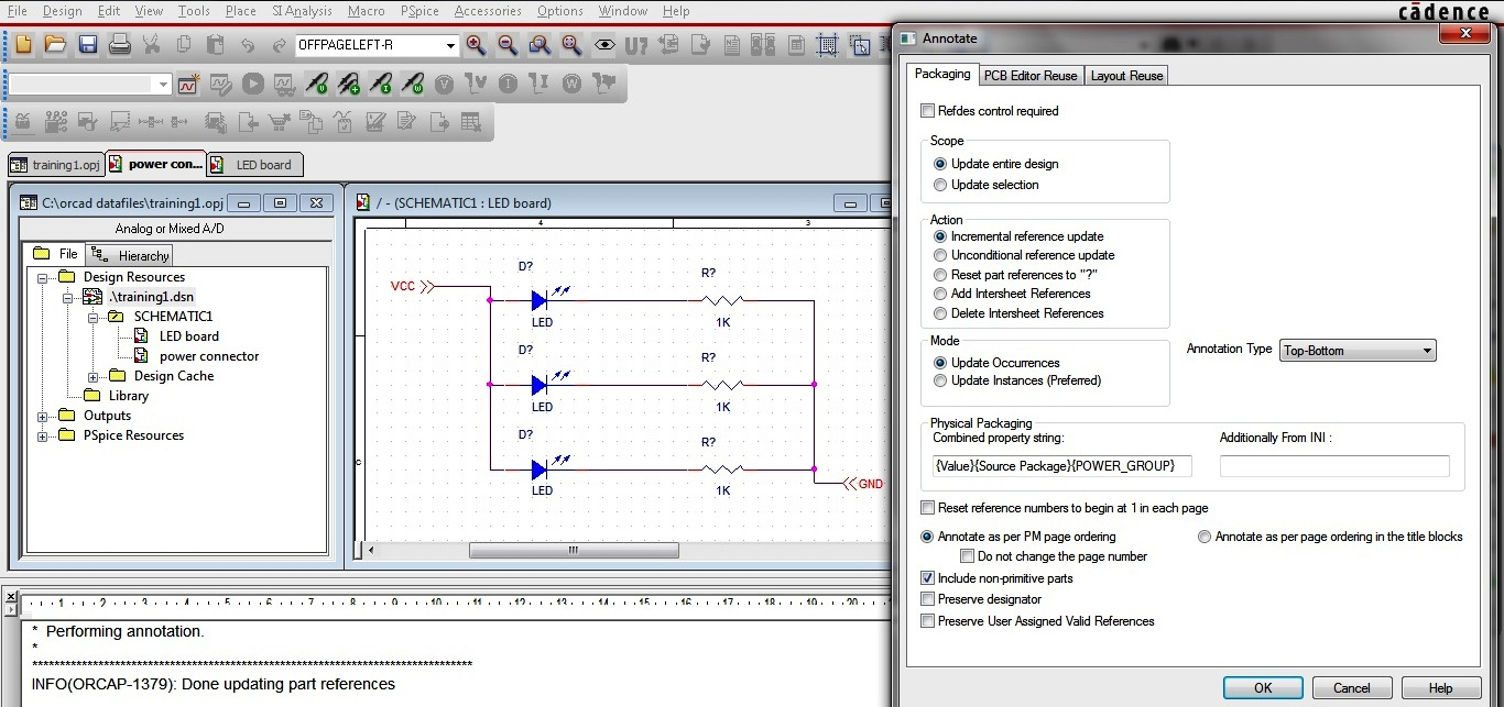 Making The Circuit Schematic Using Capture Part 2 Ac Led Diagram Additionally Battery Symbol Figure 1 Annotating Design